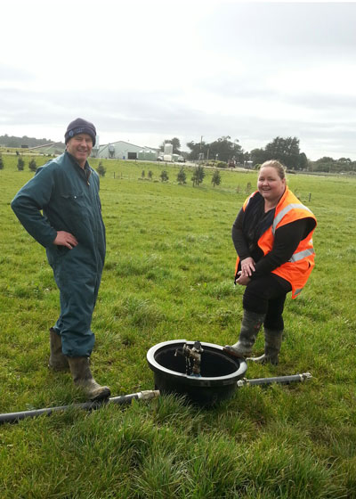 Ewen Mathieson is among the first farmers to benefit from the WOF effluent assessment, with assessor Donna Corbin.