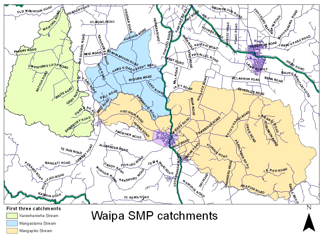 First three Waipa subcatchments
