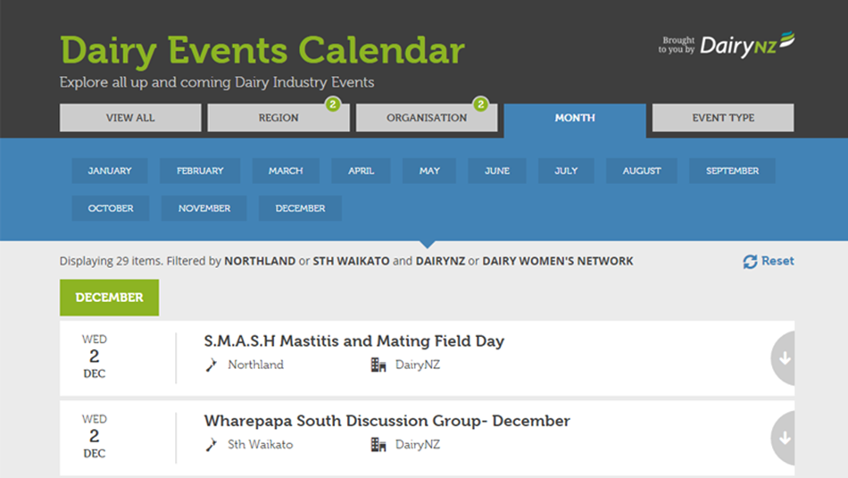 Dairy Events Calendar