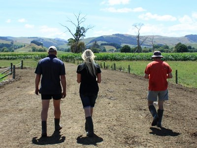 People walking on farm