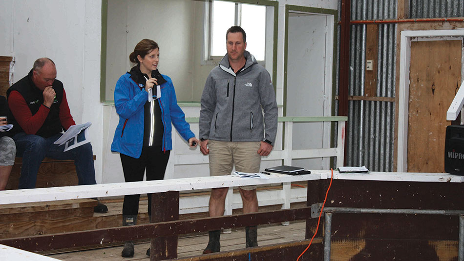 Megan and Michael Webster speaking at the Hauraki Plains Focus Farm wrap-up event.