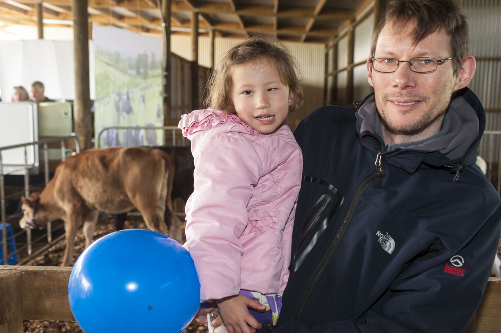 Alastair and Joanna Hill at the Dairy NZ stand, St Peters Owl Farm Open day.