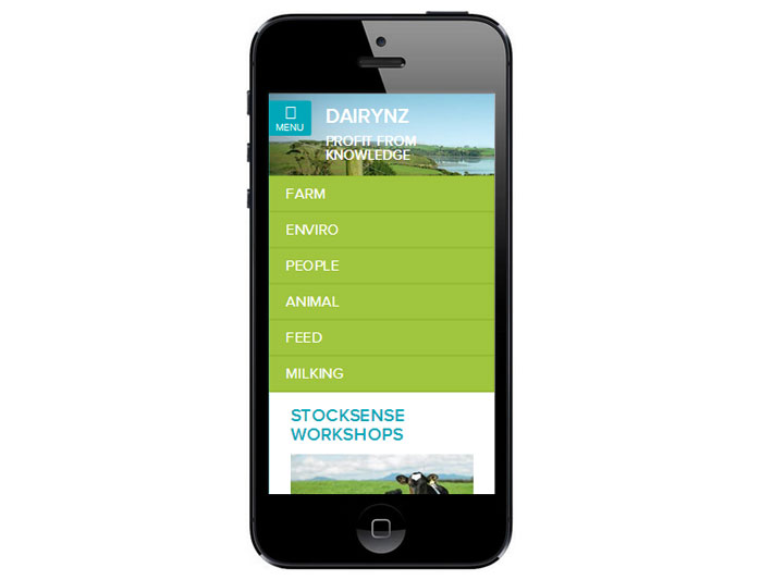 DairyNZ website mobile view