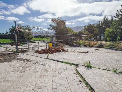The Hislops' farm dairy, with 50-bail herringbone, was left in tatters by the November earthquake.