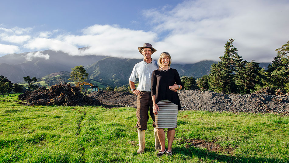 Mark and Steph Hislop are hoping their new farm dairy (earthworks underway in the background) will be ready by July.