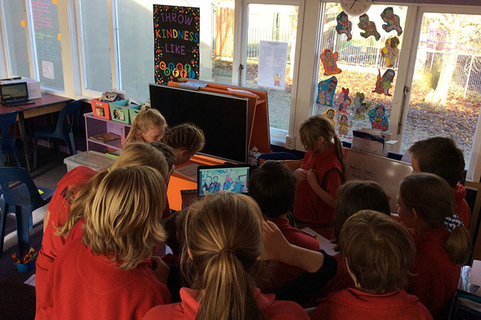 Mararoa School doing their mystery skype with Red Beach Primary School in Auckland.