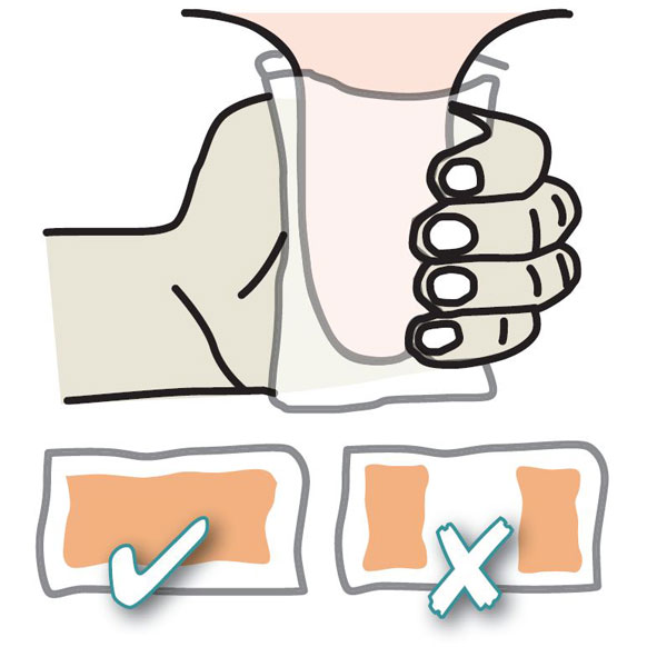Check occasionally to see how effective your teat spraying is. Using a clean paper towel, wrap your hand around a teat then unroll the paper to see if all the surfaces of the teat have been sprayed.