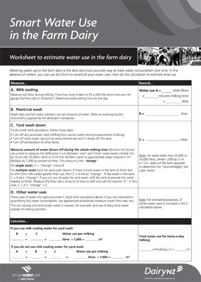 Worksheet To Estimate Water Use In The Farm Dairy