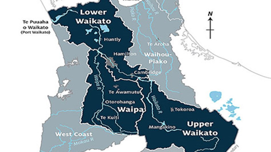 Waikato catchments map